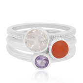 Zilveren ring met een rozen kwarts (MONOSONO COLLECTION)