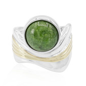 Zilveren ring met een Russische diopsied (MONOSONO COLLECTION)