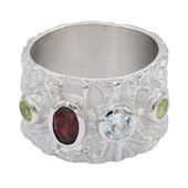 Zilveren ring met een Mozambique granaat (MONOSONO COLLECTION)