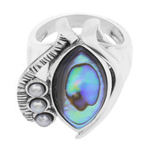 Zilveren ring met een Abalone schelp (MONOSONO COLLECTION)